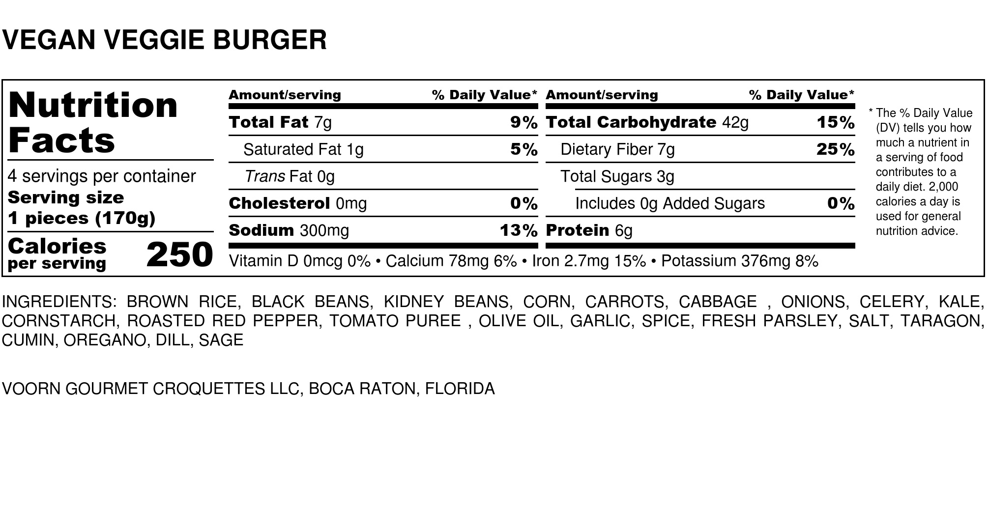 Vegan Veggie Burger Nutrition Label