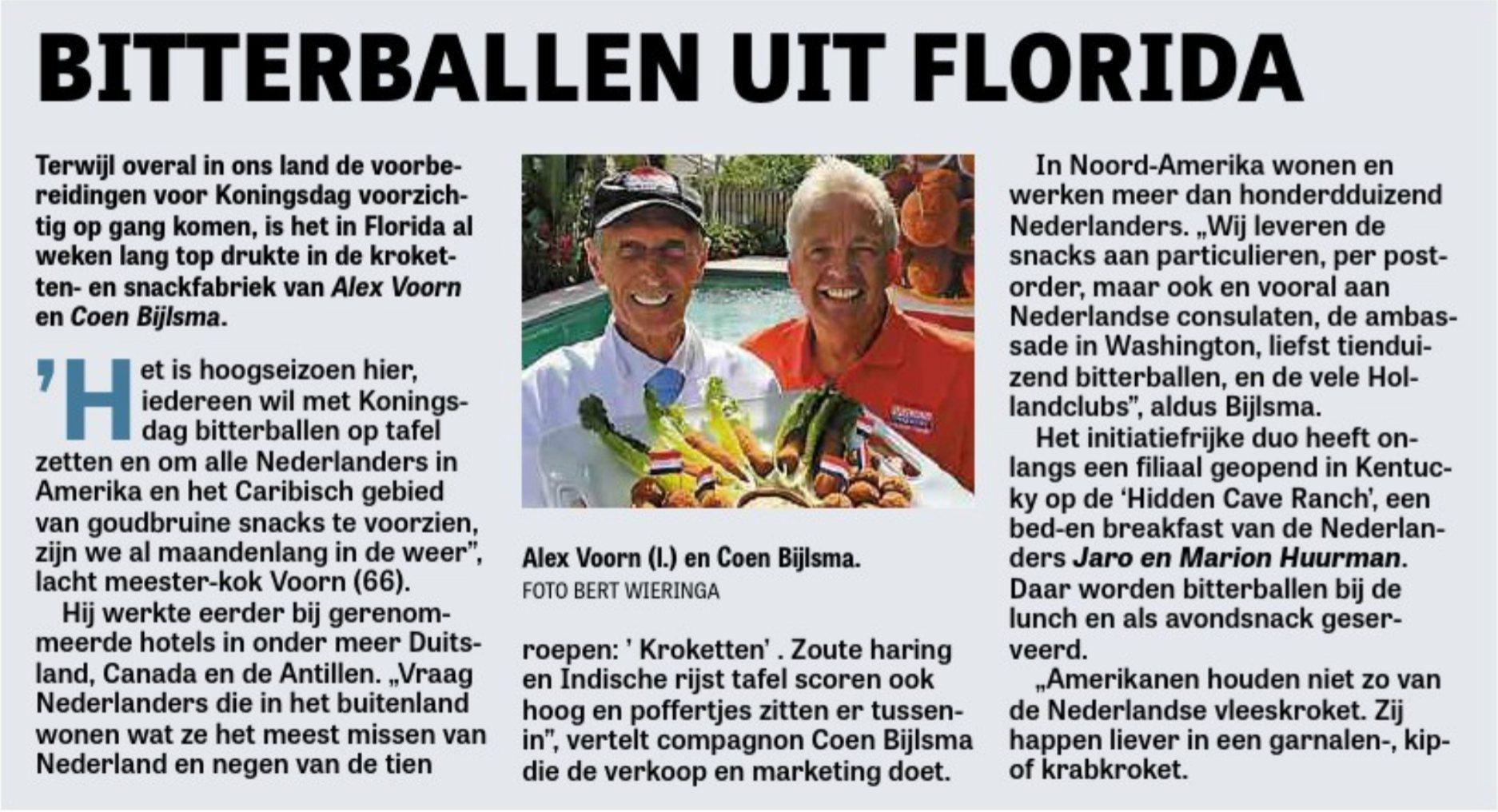 Voorn Croquettes interviewed by De Telegraaf